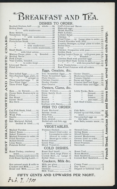 """DAILY MENU [held by] ADAMS HOTEL AND RESTAURANT [at] """"373-375 WEST STREET, NEW YORK, NY"""" (REST;)"""