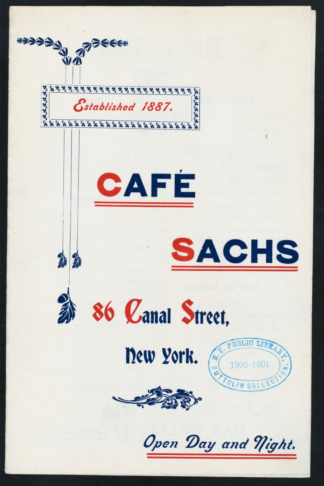 """DAILY MENU [held by] CAFE SACHS [at] """"86 CANAL STREET, NY"""" (REST;)"""