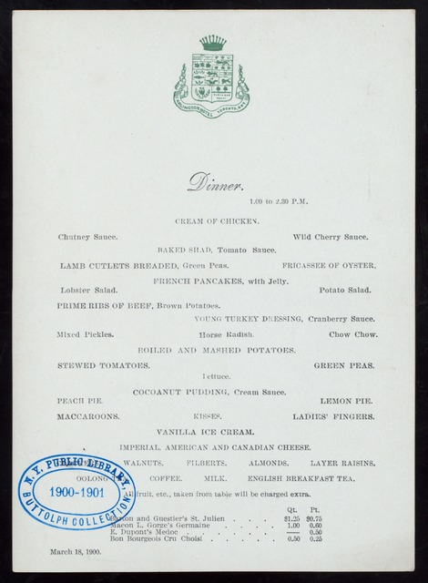 "DINNER [held by] ARLINGTON hOTEL [at] ""TORONTO,ONT,CANADA"" (HOTEL;)"