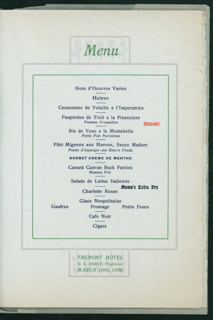 "DINNER; [held by] GALVESTON CHAMBER OF COMMERCE [at] ""TREMONT HOTEL,GALVESTON[TX]"" (HOTEL;)"