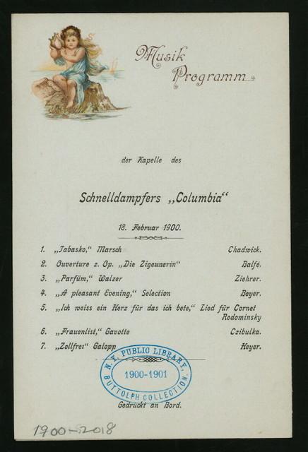 DINNER [held by] HAMBURG-AMERIKA LINIE [at] EN ROUTE ABOARD SCHNELLDAMPFER (EXPRESS STEAMER) COLUMBIA (SS;)
