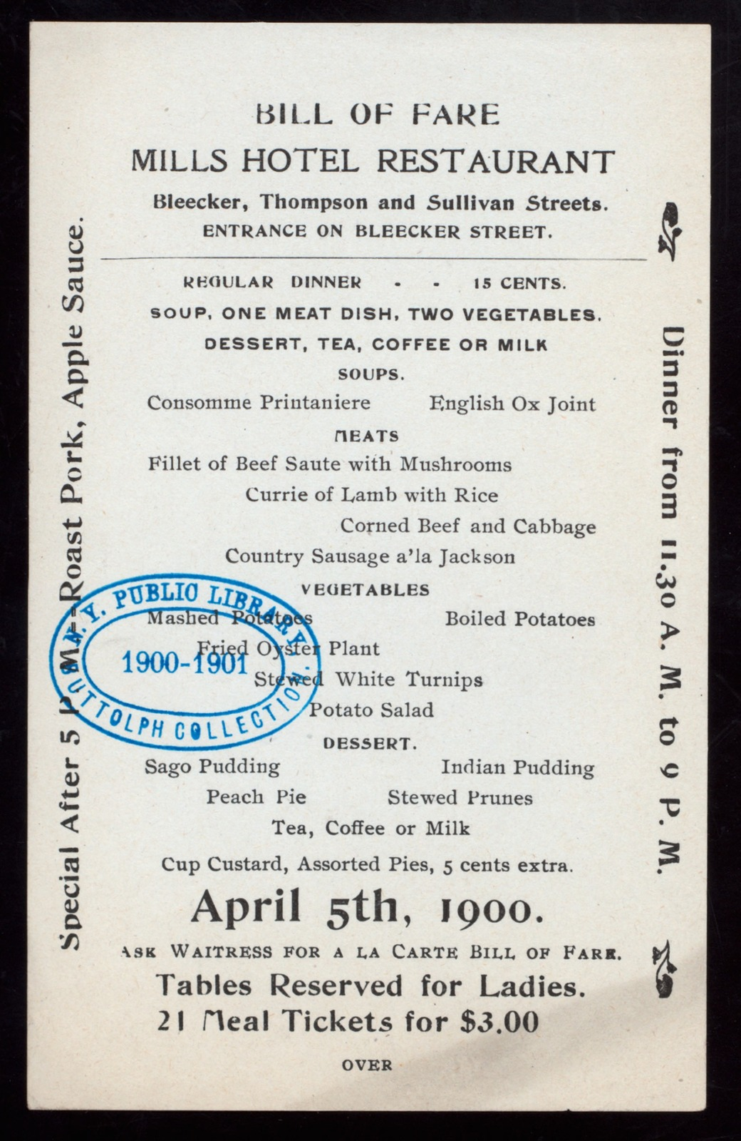 """DINNER [held by] MILLS HOTEL RESTAURANT [at] """"BLEECKER,THOMPSON,AND SULLIVAN STREETS,[NY]"""" (HOTEL;)"""
