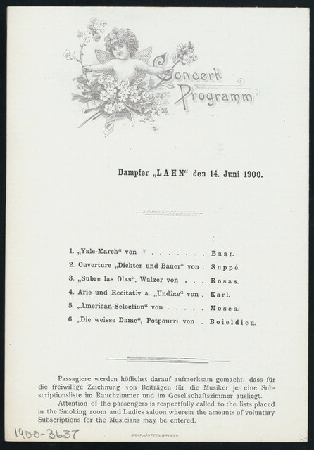 """DINNER [held by] NORDDEUTSCHER LLOYD BREMEN [at] """"DAMPFER """"""""LAHN"""""""""""" (SS;)"""