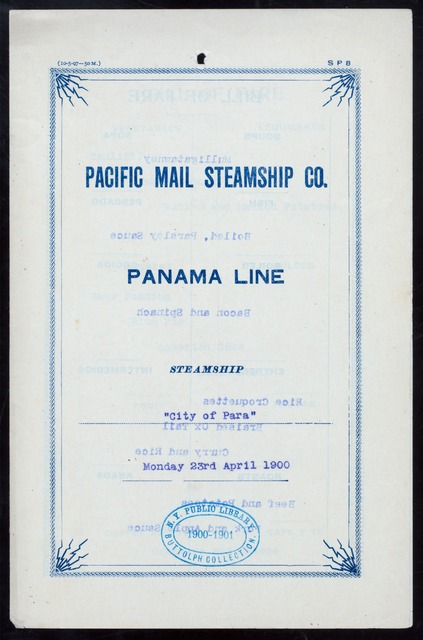 "DINNER [held by] PACIFIC MAIL STEAMSHIP CO. [at] ""PANAMA LINE,CITY OF PARA"" (SS;)"
