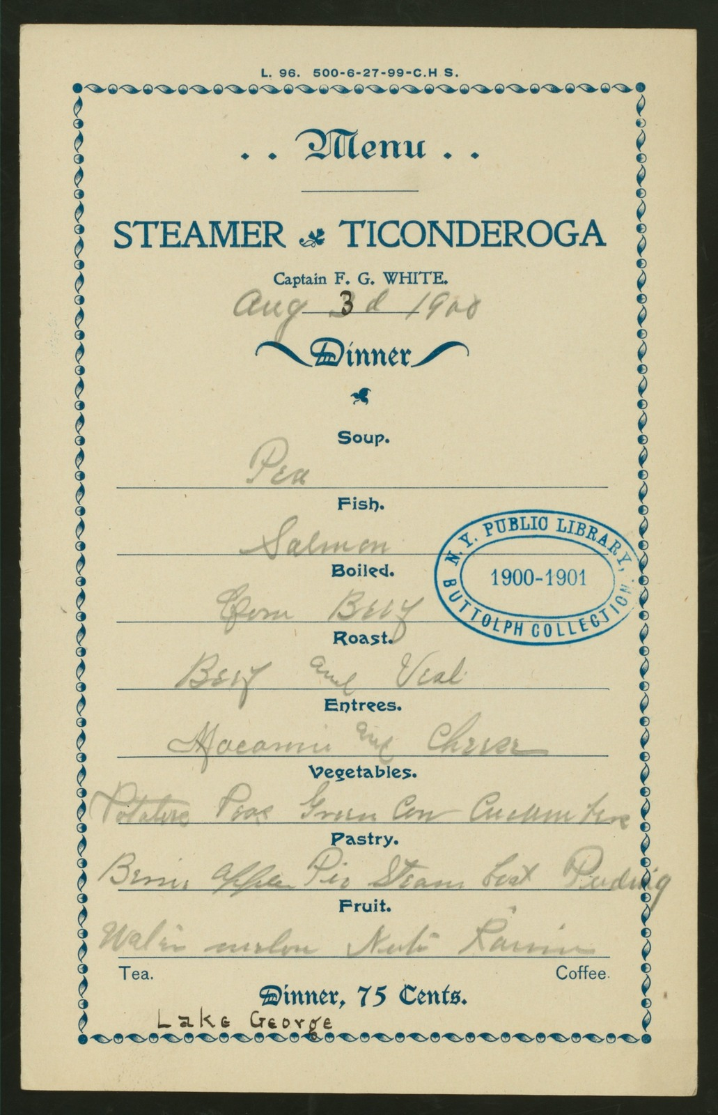 """DINNER [held by] STEAMER TICONDEROGA [at] """"LAKE GEORGE, NY"""" (SS)"""
