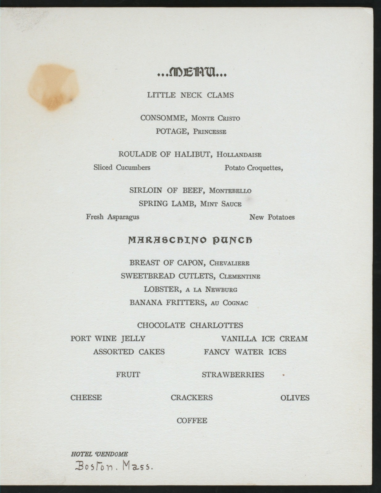 "FRESHMAN CLASS DINNER [held by] [HARVARD UNIVERSITY] [at] ""HOTEL VENDOME, [BOSTON, MA];"" (HOTEL;)"