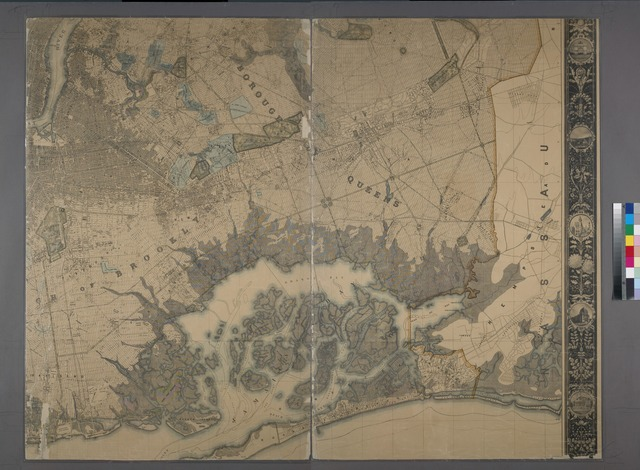 General map of the city of New York, consisting of boroughs of Manhattan, Brooklyn, Bronx, Queens and Richmond : consolidated into one municipality by act of the legislature of the state of New York (Chapter 378 of the laws of 1897) : showing in addition to the existing topographical and characteristic features of the city, a tentative and preliminary plan for a system of streets in those parts of the city consolidated under the above act of the legislature and which had no official street plan prior to 1898