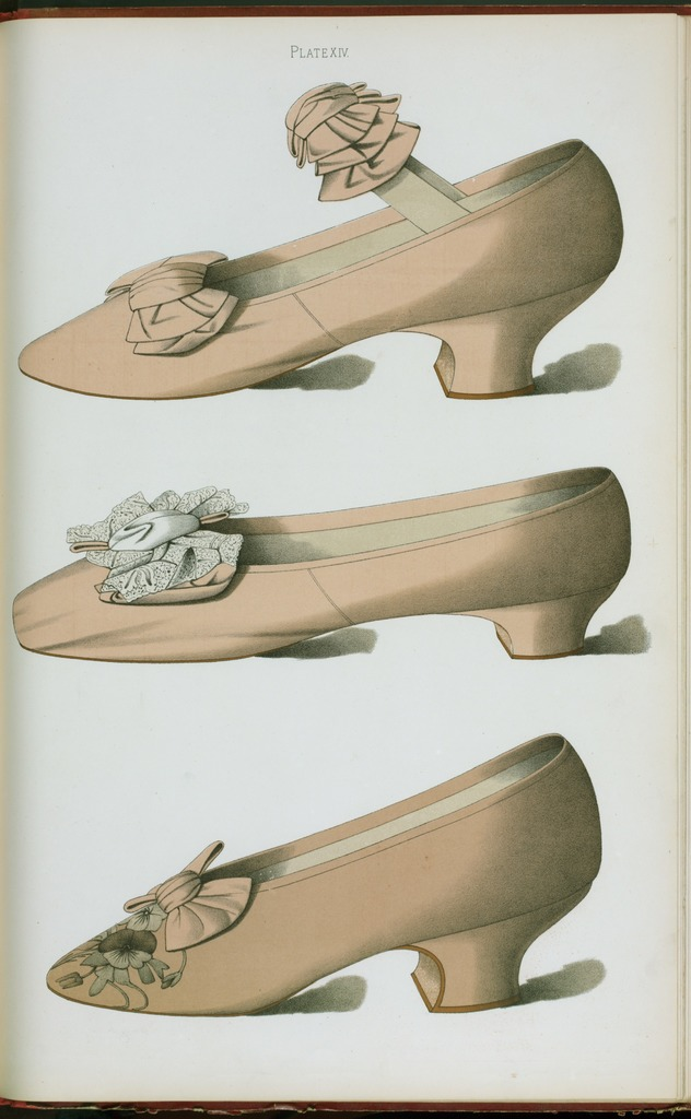 [Heliotrope satin shoe with bow of the same material covering elastic strap; heliotrope silk shoe, decorated with real lace; lilac satin shoe with embroidered flower.]