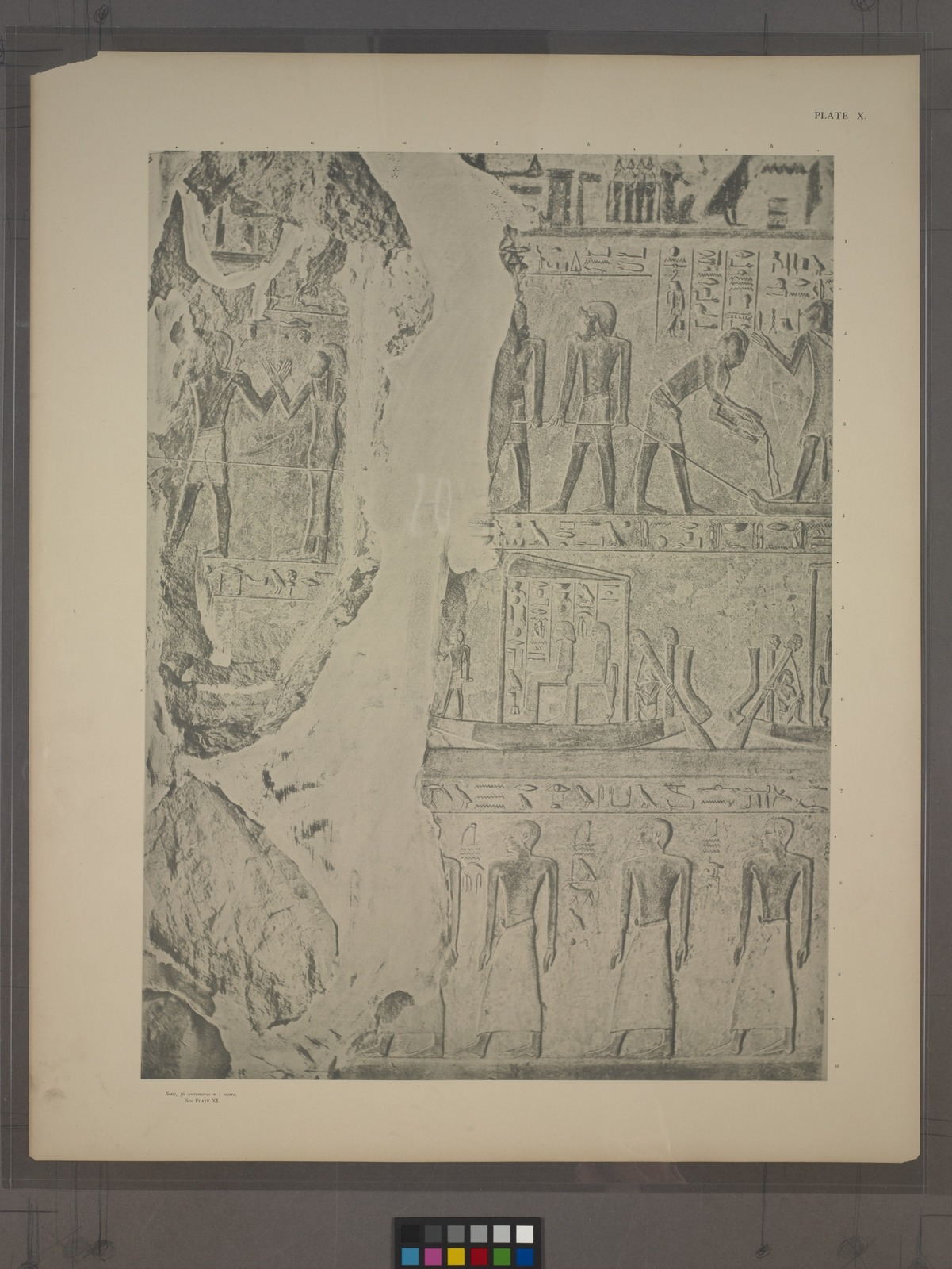 In the upper register we see the means adopted for taking the statue of Renni to the tomb. ... In the middle register we have the completion of the last plate [Pl. 9], the scene of the journey of the mummy to Abydos. ... Beneath, in the lowest register, the procession of priests ...