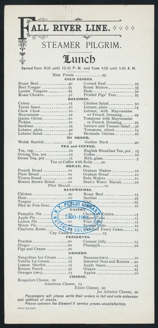 LUNCH [held by] FALL RIVER LINE [at] STEAMER PILGRIM (SS;)
