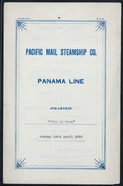 "LUNCH [held by] PACIFIC MAIL STEAMSHIP CO. [at] ""PANAMA LINE,CITY OF PARA"" (SS;)"