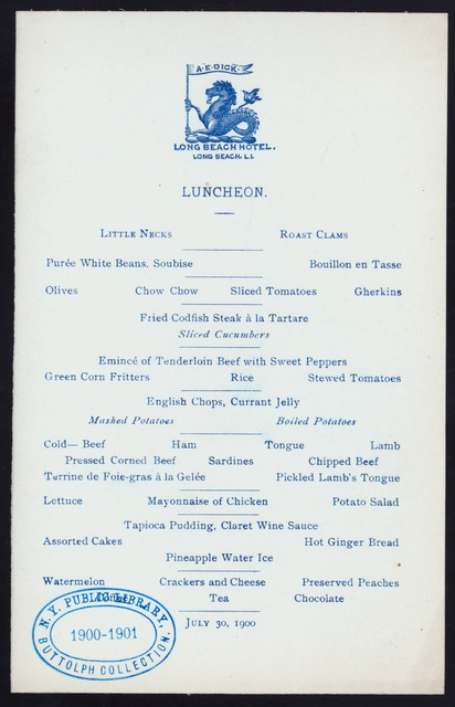"LUNCHEON [held by] LONG BEACH HOTEL [at] ""LONG BEACH, NY"" (HOTEL;)"
