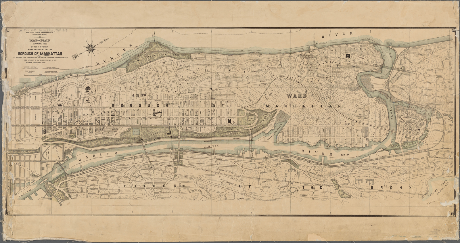 Map or plan showing the street system in the 12th ward of the Borough of Manhattan.