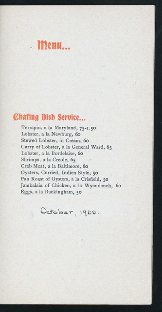 "MENU [held by] CENTURY CLUB [at] ""CLEVELAND,OHIO"" (CLUB)"