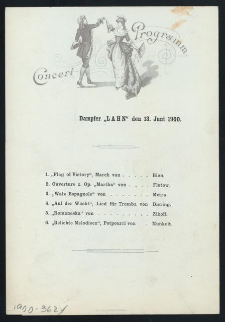 MITTAGESSEN/DINNER [held by] NORDDEUTSCHER LLOYD BREMEN [at] SS LAHN (SS;)