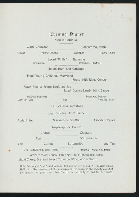 """SEMI-ANNUAL MEETING AND DINNER [held by] NATIONAL ASSOCIATION OF BOX AND BOX SHOOK MAKERS [at] """"HOTEL VICTORY,PUT-IN-BAY ISLAND,LAKE ERIE,OH"""" (HOTEL;)"""