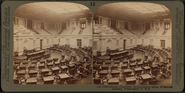 Senate Chamber, in the Capitol, scene of famous debates, Washington.