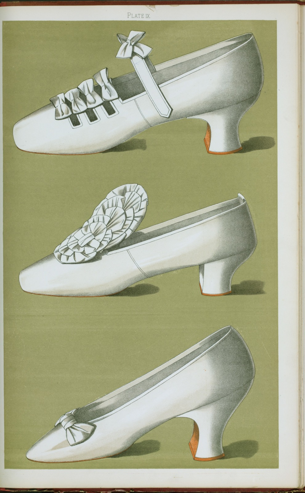 [Shoe with straps and bows; tiny shoe with large bow; shoe possessing one of the highest Louis heels worn off the stage.]