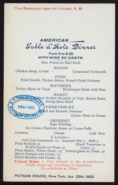 """TABLE D'HOTE DINNER [held by] PUTNAM HOUSE [at] """"NEW YORK, NY"""" ([HOTEL];)"""