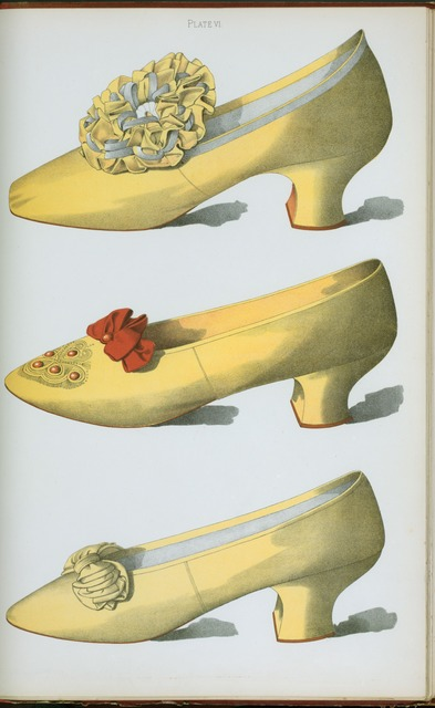 [Two yellow satin shoes, the first worn on stage by the actress Miss Ada Cavendish, and one straw colored shoe.]