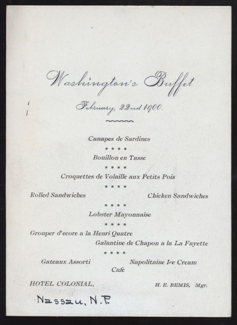 """WASHINGTON'S BUFFET [held by] COLONIAL HOTEL [at] """"[NASSAU, N.P.]"""" (HOTEL;)"""