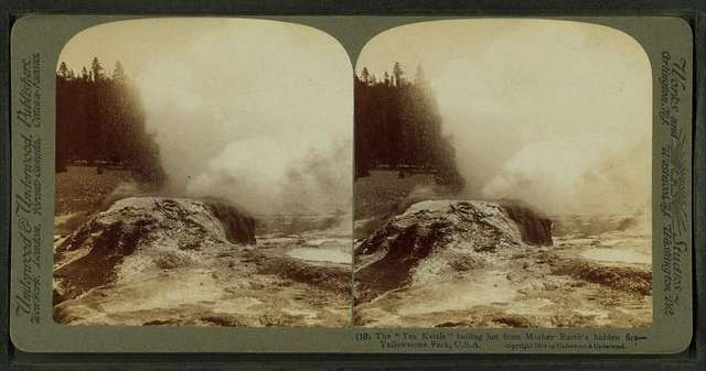 The 'Tea Kettle,' boiling hot from Mother Earth's hidden fires, Yellowstone Park, U.S.A.