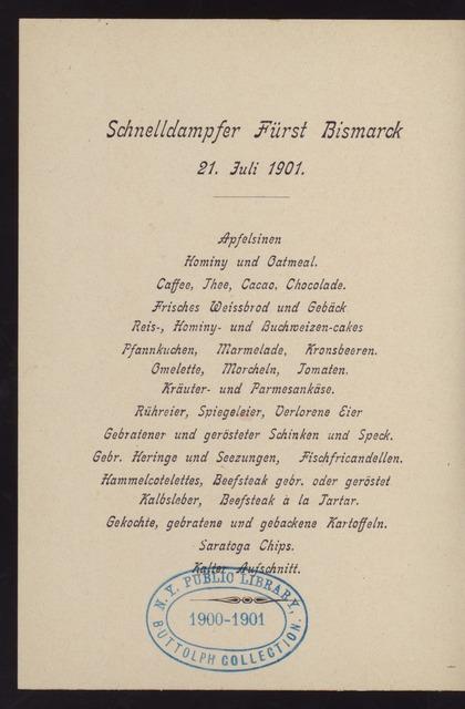 BREAKFAST [held by] HAMBURG-AMERIKA LINIE - STEAMER FURST BISMARCK [at] EN ROUTE (SS)