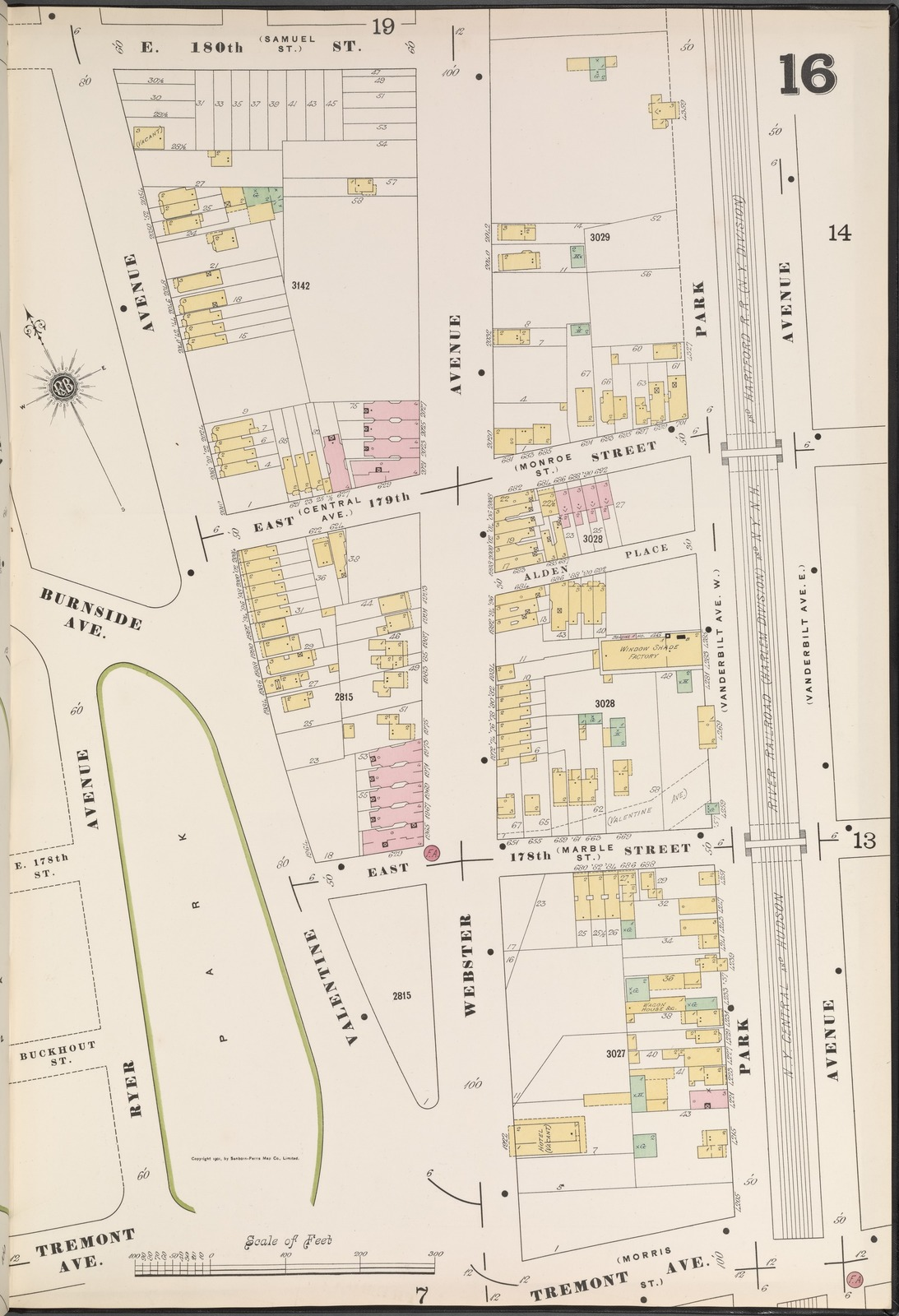 Bronx V 14 Plate No 16 Map Bounded By E 180th St Park Ave Tremont Ave Ryer Ave New York Public Library S Public Domain Image