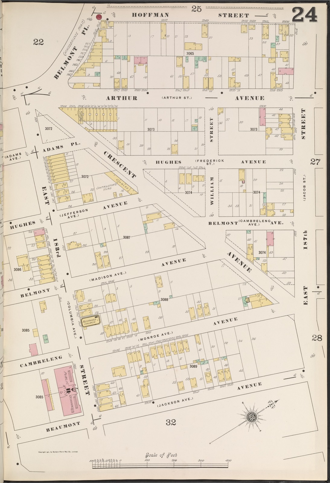 Bronx, V. 14, Plate No. 24 [Map bounded by Hoffman St., E. 187th St., Beaumont Ave.]