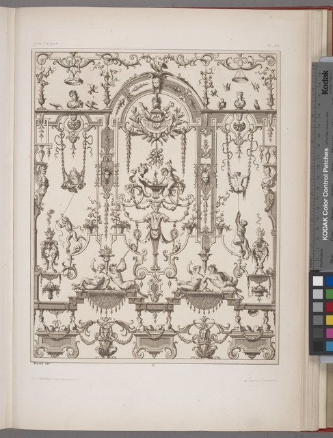 [Design featuring central arch and figures of cherubs forging a heart.]