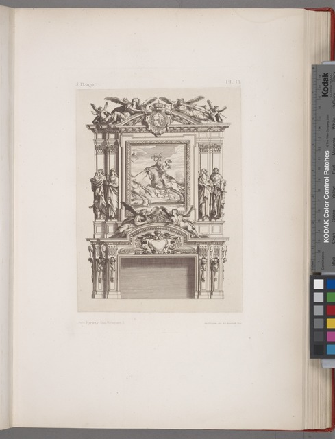 [Design for a chimney piece with central equestrian portrait.]
