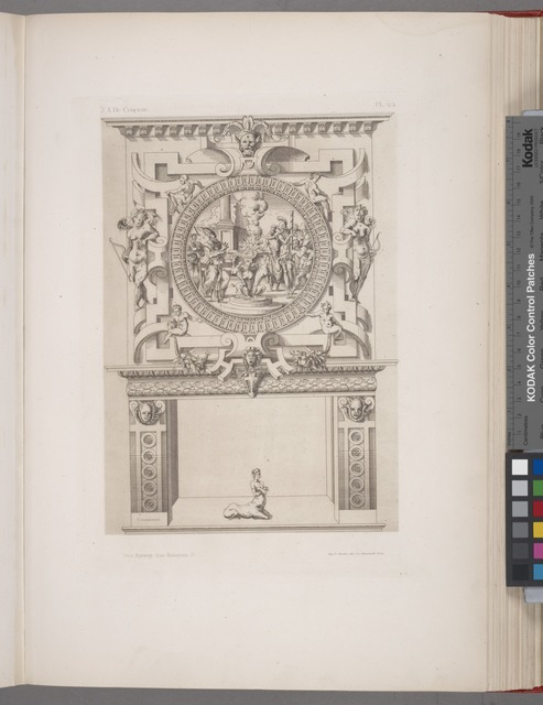 [Design for a chimney piece with roundel of group surrounding a fire, possibly a religious ceremony.]