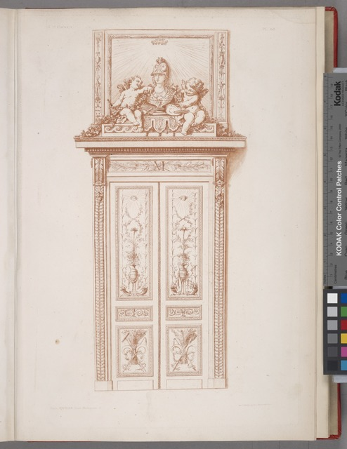 [Design for doorway with decoration of bust of Athena and two cherubs.]