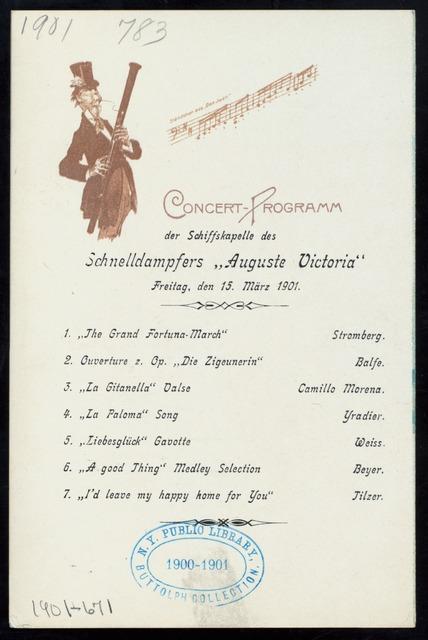 """DINNER [held by] HAMBURG-AMERIKA LINIE [at] """"SCHNELLDAMPFER """"""""AUGUSTE VICTORIA"""""""""""" (SS;)"""