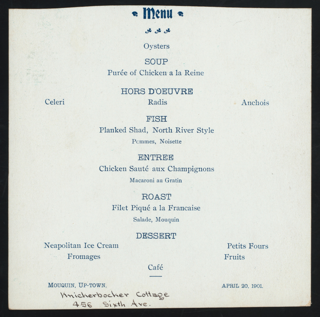 "DINNER [held by] KNICKERBOCKER COTTAGE [at] ""456 SIXTH AVE,[NEW YORK, NY?]"""