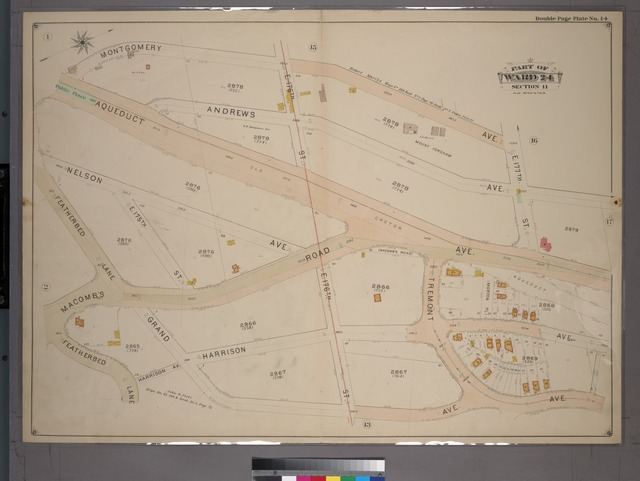 Double Page Plate No. 14, Part of Ward 24, Section 11. [Bounded by Montgomery Avenue, E. 177th Street, Aqueduct Avenue, Grand Avenue, Harrison Avenue and Featherbed Lane.]