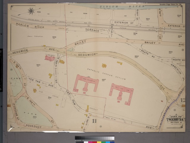 Double Page Plate No. 26, Part of Ward 24, Section 11. [Bounded by Harlem River, E. 192nd Street, Bailey Avenue, Heath Avenue, Emmerich Place, Kingsbridge Road, Tee Taw Avenue, E. 190th Street, Aqueduct Avenue and Fordham Road.]