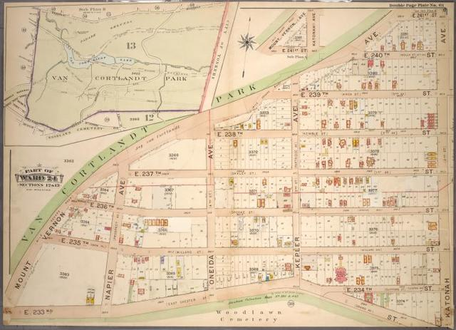 Double Page Plate No. 61, Part of Ward 24, Sections 12 & 13: [Map bounded by Mount Vernon Avenue, E. 241st Street, Katonah Avenue and E. 233rd Street ; Map of Van Cortland Park]