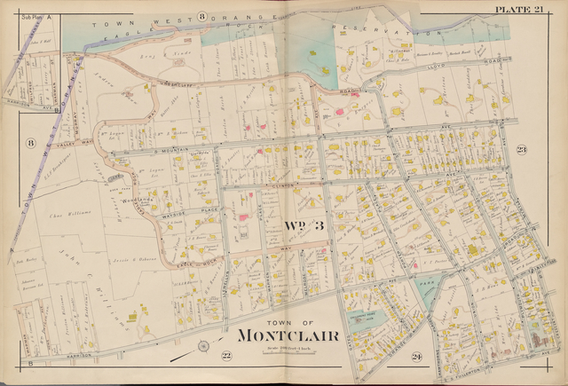 Essex County, V. 3, Double Page Plate No. 21 [Map bounded by Myrtle Ave., Crescent St., S. Fullerton Ave., Harrison Ave., West Orange]