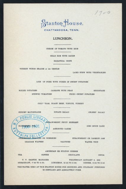 """LUNCHEON [held by] STANTON HOUSE [at] """"CHATTANOOGA,TN"""" (HOTEL;)"""