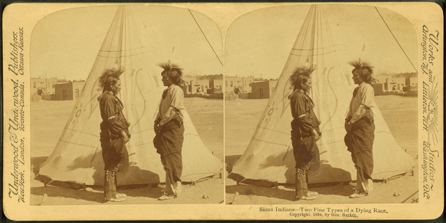 Sioux Indians. Two fine types of a dying race.