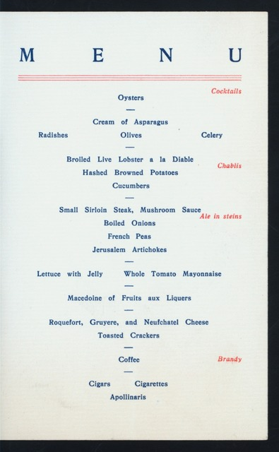 """SIXTH ANNUAL DINNER [held by] QUARTER CENTURY CLUB [at] """"GELB'S PARLORS, [PROVIDENCE, RI]"""" (OTHER (CLUB);)"""