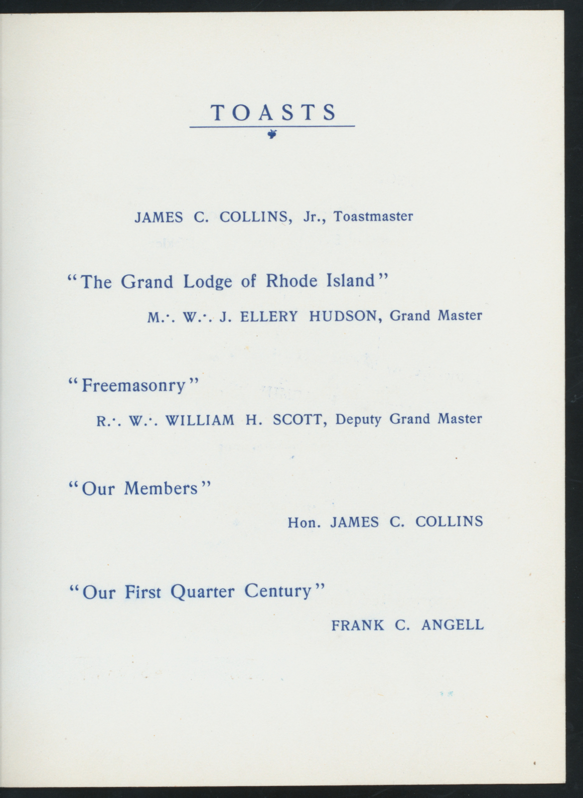 """TWENTY-FIFTH ANNIVERSARY BANQUET [held by] ROGER WILLIAMS LODGE NO. 23 A.F. & A.M. [at] """"CENTREDALE, RI"""" (REST(?);)"""