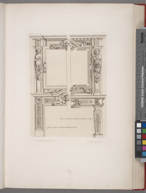 [Two designs for chimney pieces of same dimensions but varied decoration.]