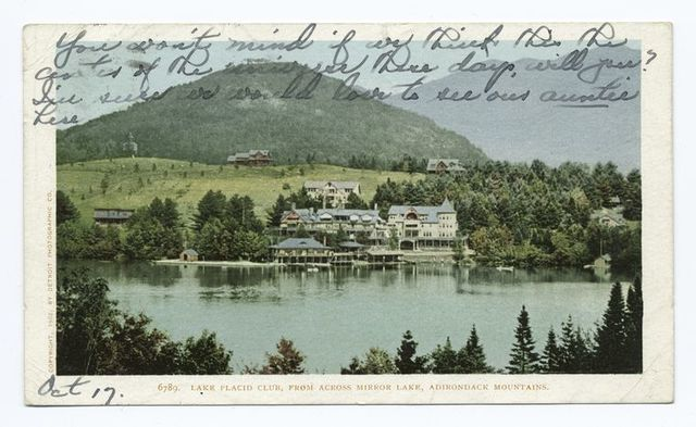 Club from across Lake, Mirror Lake, Lake Placid, N. Y.