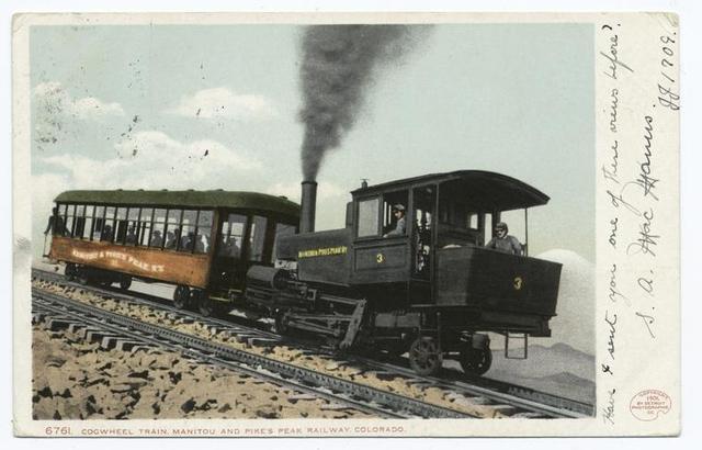 Cog Wheel Train, Manitou, Colo.