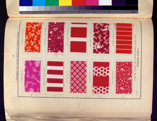 Cotton printing (acid wool colours printed with alumina mordant).