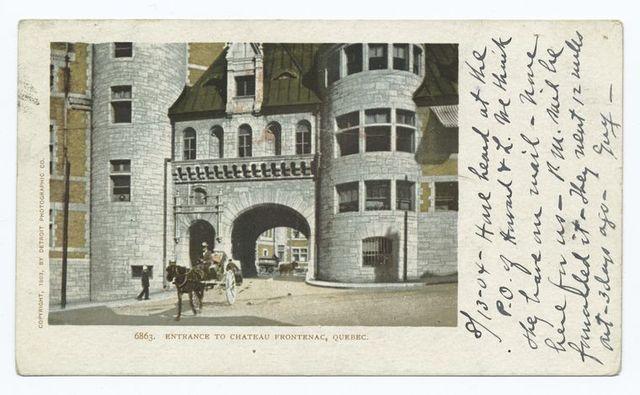 Entrance to Chateau Frontenac, Quebec, Que.