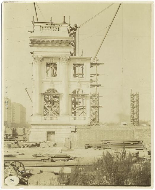 Exterior marble work : plaster model of the south end of the Fifth Avenue facade.