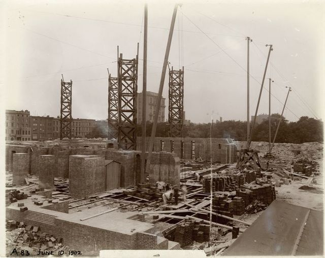 Foundation work : construcion of brick walls, looking southwest.